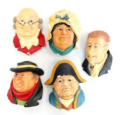 £9.99 • Buy 5x Vtg 1964 BOSSONS ENGLAND Chalkware Heads Hanging Wall Ornaments - G23