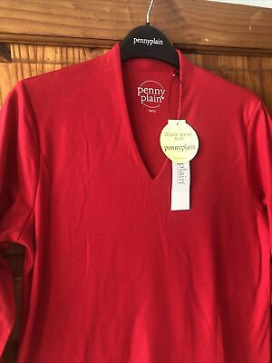£3.99 • Buy Penny Plain Ladies 3/4 Slv Top. Red.10/12.double Front.bnwt