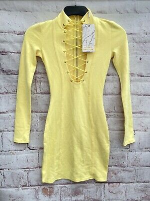 £25.99 • Buy Oh Polly In The Loop High Neck Suede Corset Mini Dress In Yellow Size: Uk 6