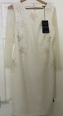 £14.99 • Buy M&s Ivory Sequined Lined Special Occasion  Midi Dress Size Uk 12 - New