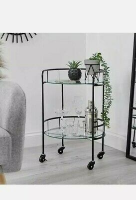 £34.95 • Buy Drinks Trolley With 2 Tiers 30's Art Deco Vintage Home Bar Cart - Black
