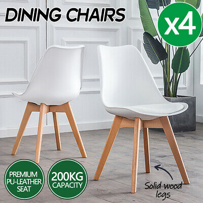 AU80.75 • Buy 4x Dining Chairs Kitchen Table Chair Lounge Room PU Wood Retro Padded Seat