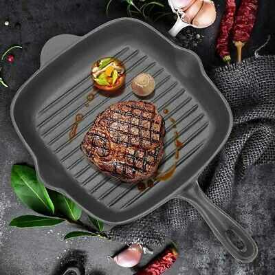£13.99 • Buy Griddle Frying Pan Grill Cast Iron Non Stick Skillet Cooking Fry Square Steak