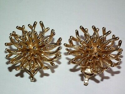 £995 • Buy Scarce Original, Tiffany & Co Solid 14K Gold Anemone Earrings, Lovely Example