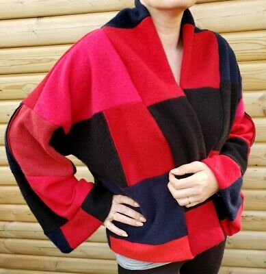 £39.99 • Buy # 100% Pure Cashmere Cardigan Jacket S/m/l/xl Navy Red Black Patchwork 352
