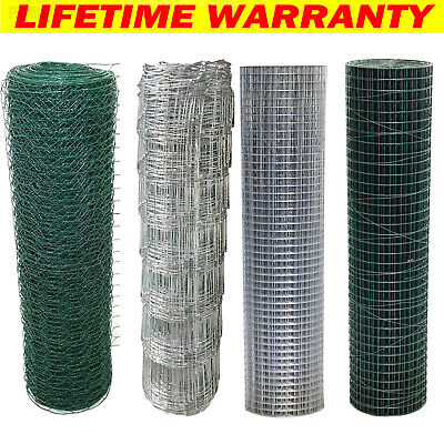 £46.60 • Buy PVC Coated Welded Galvanised Wire Mesh Netting Chicken Fencing Roll Aviary Fence