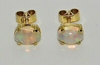 £59.95 • Buy 9ct Gold Natural Opal Oval Stud Earrings