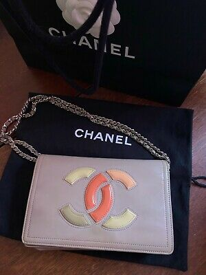 £236.42 • Buy Chanel Patent WOC Bag Lavender Taupe Lipstick Logo Wallet On Chain