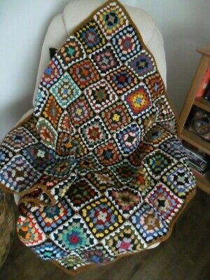 £40 • Buy Crochet Blanket Granny Squares 100% Pure New Wool Hand Made  41 X 41 Ins.