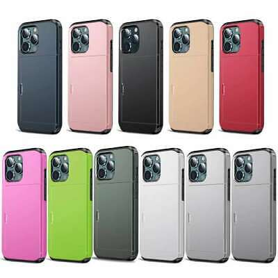 AU14.99 • Buy Hard With Slide Card Slot Holder Phone Case Cover For IPhone 12 11 Pro Max 7 8 +