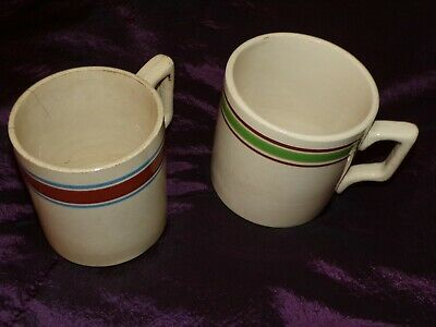 £99 • Buy Two Antique Pottery Large Irish Ale Mugs Possibly Belleek Unmarked
