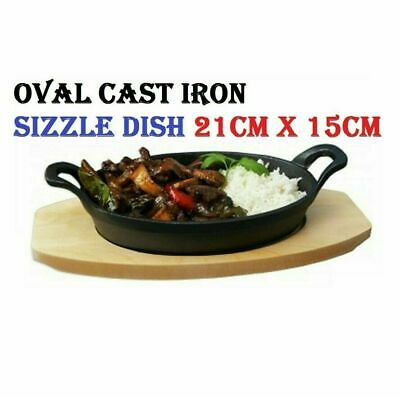 £12.99 • Buy Oval Cast Iron Sizzle Dish Sizzling Food Serving Bowl Wooden Base Bottom Curry