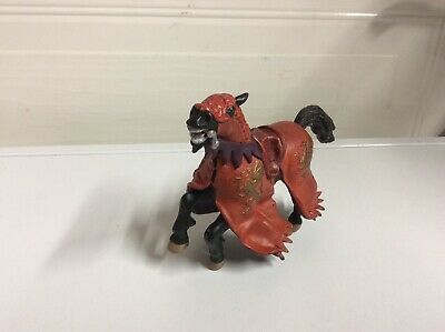 £1.99 • Buy Papo Fantasy Enchanted Black Knights Horse With Red Robes 2004 Broken Ear