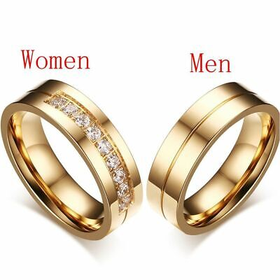 £2.20 • Buy Women Men Love Cubic Zirconia 18K Gold Plated Stainless Steel Wedding Band Ring