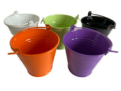 £9.99 • Buy Set 5 Small Craftmill Buckets Party Weddings Crafts Metal Pails Halloween Craft.