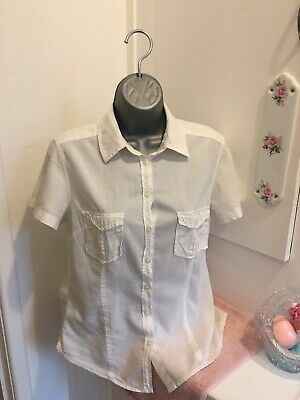 £1.93 • Buy H+M Logg Ladies Size 10 Button Up Short Sleeved Blouse