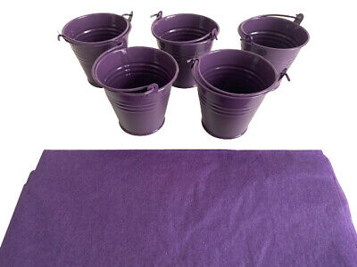 £9.99 • Buy Set 5 Small Purple Craftmill Buckets Party Crafts Metal Pails Halloween Craft.