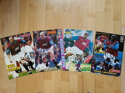£3 • Buy 5x HAND-SIGNED ASTON VILLA FC 1990s FOOTBALL MAG PICTURES (MILOSEVIC, YORKE +3)