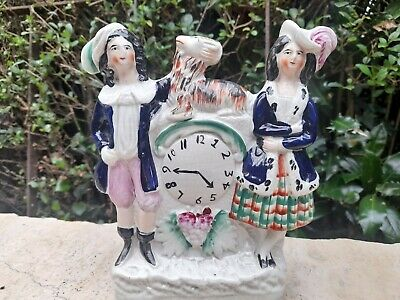 £21.50 • Buy Antique Victorian Staffordshire Flatback Figure Couple With Goat Clock Grapes