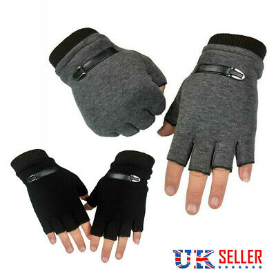 £3.99 • Buy Adults Mens Thermal Fingerless Thick Knitted Winter Warm Half Finger Work Gloves