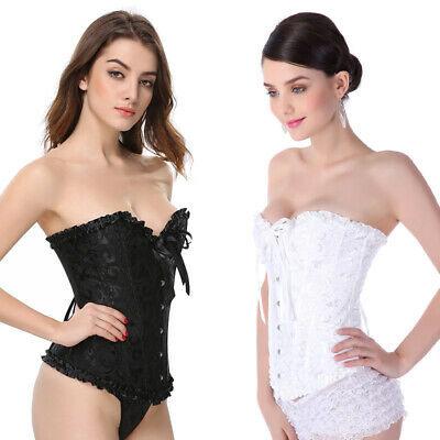£15.99 • Buy Women Sexy Overbust Boned Corset Burlesque Basque Top Lace-Up Costume Size 6-24