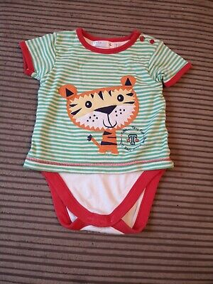 £2.50 • Buy Baby M&Co Green Striped T-shirt With Integrated Bodysuit 9-12 Months
