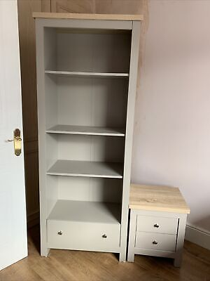 """£6 • Buy Tall Grey Bookcase With Drawer 72"""" X 27"""" X 14"""""""