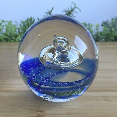 £13 • Buy Vintage Paperweight Blue Rings Centre Bubble 662g - 8.1cm Tall