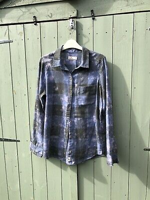 £8.50 • Buy Ladies Hollister Blue & Navy Checked Bleach Effect Fitted Shirt Size Medium (10)