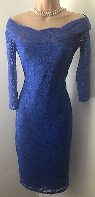 £9.99 • Buy Star By Julien MacDonald Blue Lace Outer Pencil Wiggle Dress Size 10