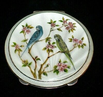 £658.37 • Buy MAGNIFICENT Hand Painted *STERLING ENAMEL GUILLOCHE* Compact *THE BIRDS* XXL