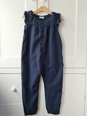 £4.50 • Buy Next Dungarees Girls 3-4 Years All In One Navy 100% Cotton Jumpsuit Playsuit