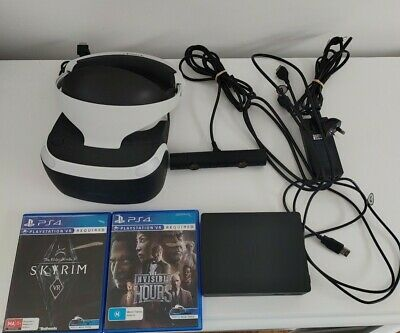 AU259.95 • Buy Sony PlayStation 4 PS4 VR Headset Camera & Cables 2 Games Skyrim Invisible Hours