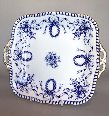 £20 • Buy Antique Coalport Twin-Handled Cake Plate - Wreaths, Ribbons & Bows  #1