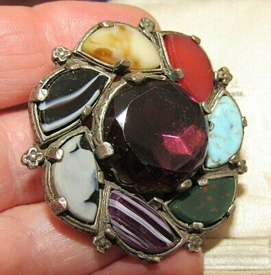 £5.50 • Buy Vintage Signed Miracle Scottish Celtic Highland Shield Pebble Agate Brooch Pin