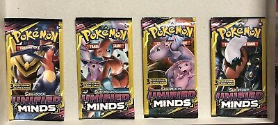 $7.99 • Buy Pokemon Sun & Moon Unified Minds (3) Card Booster Packs NEW 4PKS(12 Cards Total)