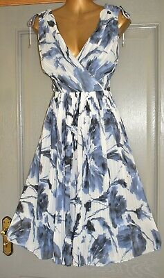 AU5.66 • Buy Monsoon Ivory & Blue Multi Print Formal Occasion Wedding Party Dress Size 14 New