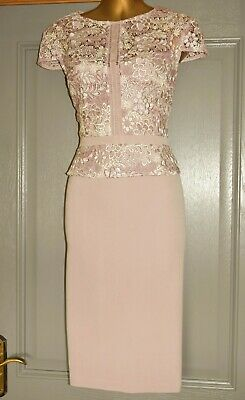 AU30.21 • Buy Phase Eight Dusky Pink Embroidered Formal Occasion Wedding Party Dress Size 14