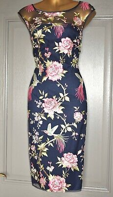 AU23.59 • Buy Monsoon Navy Pink Green Embroidered Formal Occasion Wedding Party Dress Size 12
