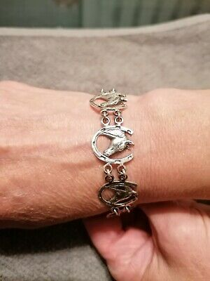 £20 • Buy Used Sterling Silver Horses Head With Horseshoes Bracelet