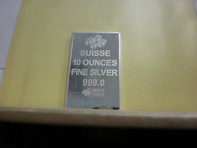 £365.62 • Buy 10 Oz Silver Bar - PAMP Suisse Fortuna - .999 Silver In Capsule W/Assay