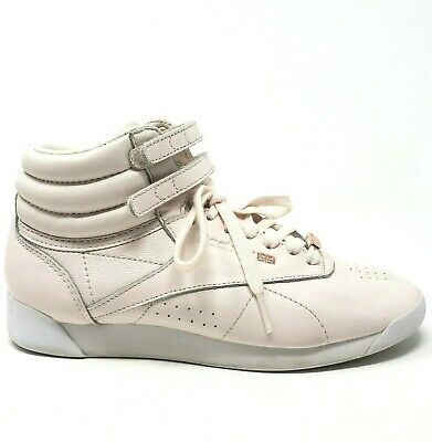 £25.56 • Buy Reebok Womens Sz 6.5 High Top Sneakers Freestyle Retro Muted Pink Lace Up Shoes