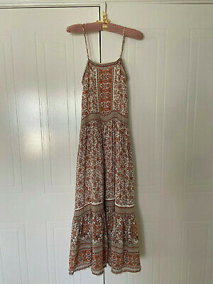 AU150 • Buy Spell And The Gypsy Collective Maxi Dress Size XS - White Tan Floral Boho Print