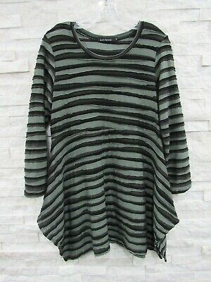 £21.25 • Buy Cut Loose Green Gray Black Tiered Wave Stripe Funky Stretch Flared Tunic Top XL