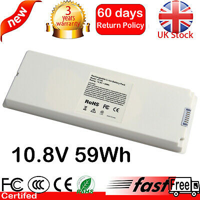 £17.59 • Buy 59Wh Laptop Battery For Apple Macbook 13  Late 2007 2008 White A1185 A1181 MA561