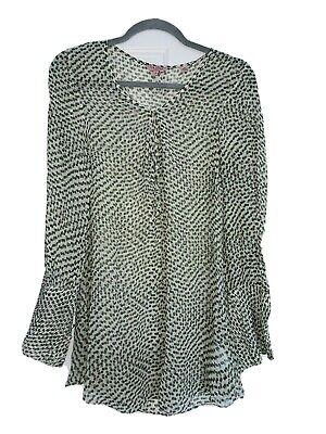 £8.99 • Buy Gorgeous Ted Baker Ivory & Green Print Sheer Blouse Size 2 10