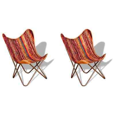 AU268.99 • Buy VidaXL 2x Butterfly Chairs Multicolour Chindi Fabric Vintage Cafe Dining Seat