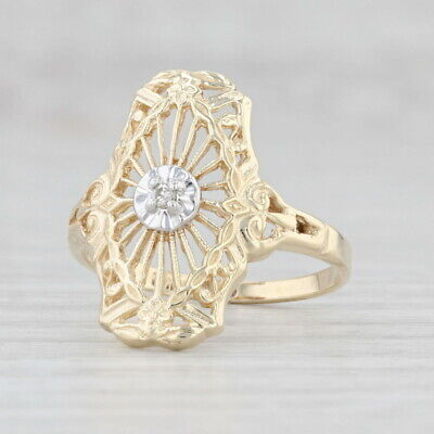 AU258.52 • Buy Vintage Diamond Floral Ring 10k Yellow Gold Size 6.25 Ornate Openwork