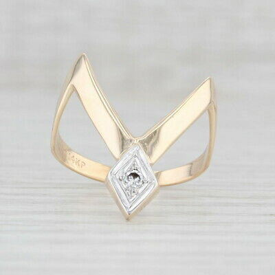AU345.16 • Buy Diamond Abstract Contoured V Ring 14k Yellow Gold Size 8.5