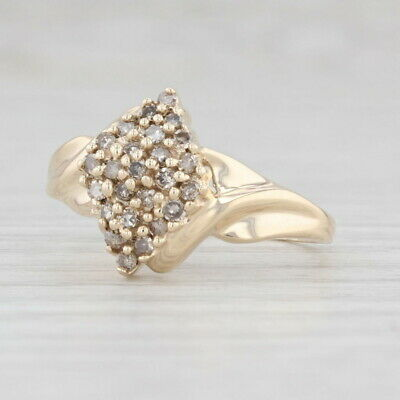 AU287.40 • Buy New 0.23ctw Champagne Diamond Cluster Ring 10k Yellow Gold Size 6